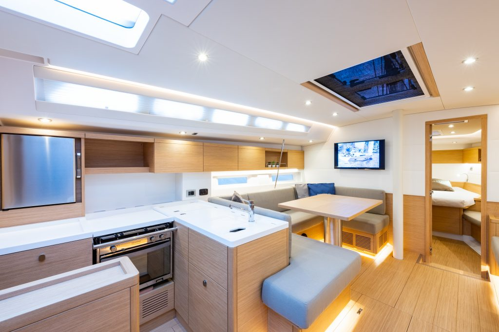 Nauta designed galley and saloon